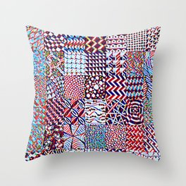 Pigmented Pattern Parade Throw Pillow