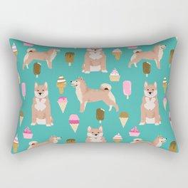 shiba inu ice cream dog breed pet pattern dog mom Rectangular Pillow