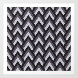 Mid Century Modern Triangles (Charcoal) Art Print
