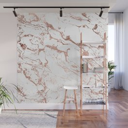 Modern chic faux rose gold white marble pattern Wall Mural