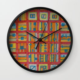 Red Grid with House Technic and Supply Wall Clock