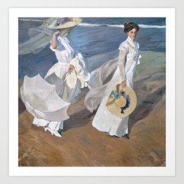 Joaquín Sorolla y Bastida - Strolling along the Seashore Art Print