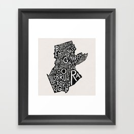 Somerset County, New Jersey Map Framed Art Print