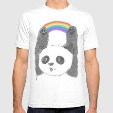 panda beam MEDIUM White Mens Fitted Tee