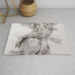 Nude woman pencil drawing Rug