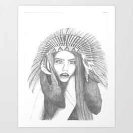 Stands with Feathers Pencil Drawing Art Print