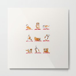 English Bulldog Yoga Watercolor Metal Print