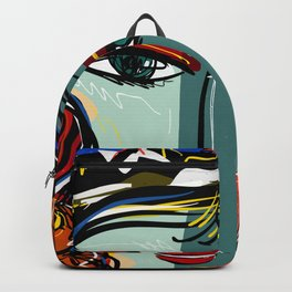 Portrait of a Girl with Hat French Pop Art Expressionism Backpack