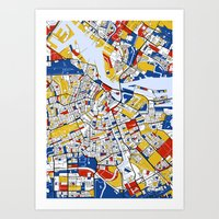 mondrian Art Prints featuring Amsterdam Mondrian by Mondrian Maps