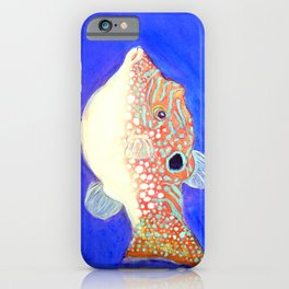 Blue Spotted Orange Toby Puffer iPhone Case