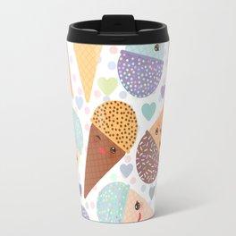 Kawaii funny Ice cream waffle cone, with pink cheeks and winking eyes Travel Mug