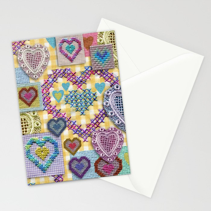 Open Hearted - Yellow Gingham Stationery Cards