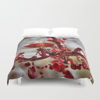chandelier Duvet Covers featuring Red Chandelier by Emily Lewin