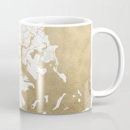 Boston White and Gold Map Coffee Mug