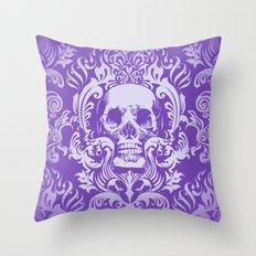 Skull Damask Throw Pillow