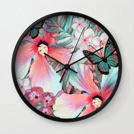 Peachy Mint Hibiscus Tropical Wall Clock