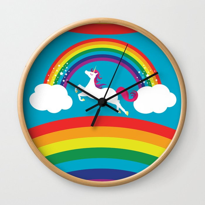 Unicorn Rainbow in the Sky Wall Clock