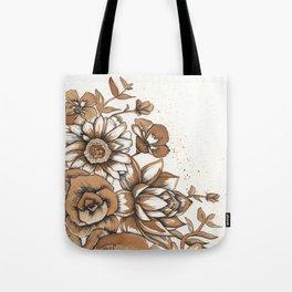 Coffee Art- Flowers Tote Bag