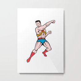 Superhero Punching Cartoon Metal Print