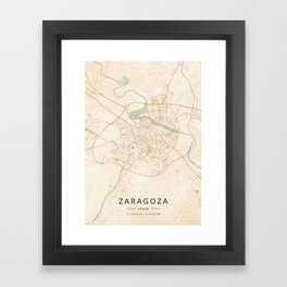 Zaragoza, Spain - Vintage Map Framed Art Print