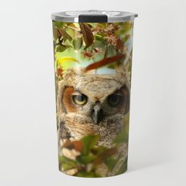 Baby owl in spring blossoms Travel Mug