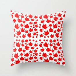 Happy Canada! Enthusiastic Maple Leaf. Throw Pillow