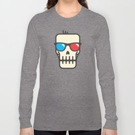 Line skull with 3D glasses Long Sleeve T-shirt