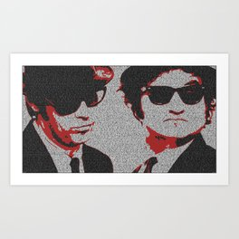 Text Portrait with Script of The Blues Brothers Art Print