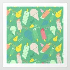Ice Cream green Art Print