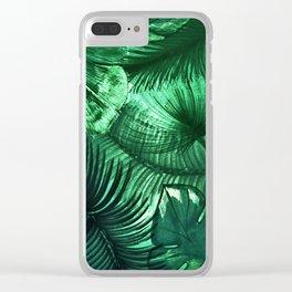 jungle leaves tropical palm tree leaf botanical design Clear iPhone Case