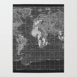 Black and White Vintage World Map Poster