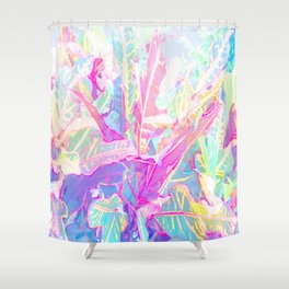 Tropical croton leaves 1/2 Shower Curtain