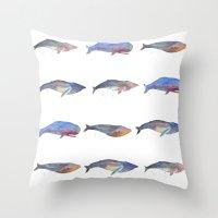 whales Throw Pillows featuring Whales by Lene Daugaard