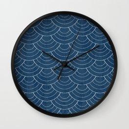 Blue sashiko pattern Wall Clock