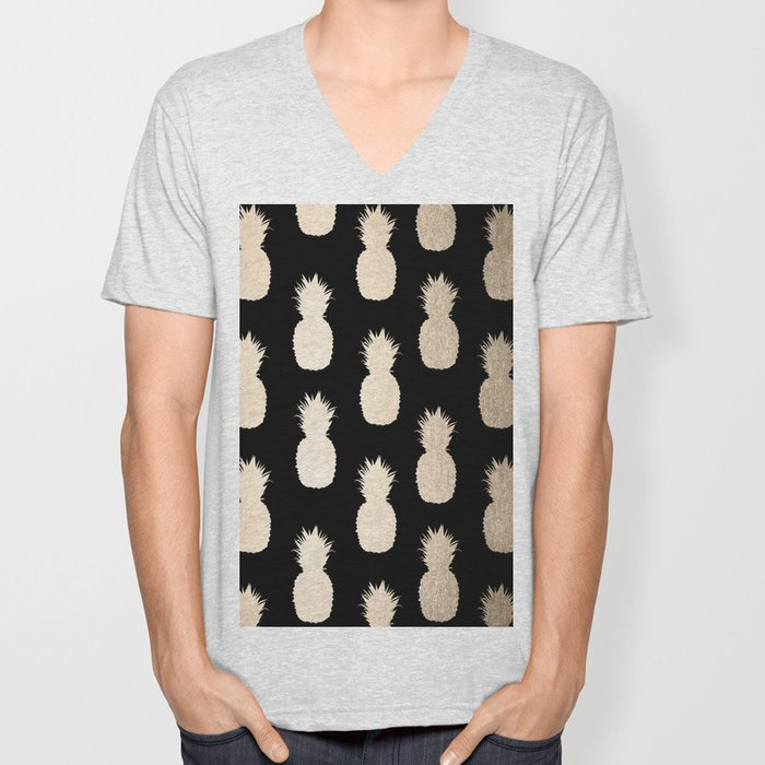 Gold Pineapples Pattern Black Unisex V-Neck