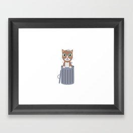 Cute Cat In the trash can   Framed Art Print