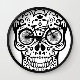 Vintage Mexican Skull with Bicycle - black and white Wall Clock