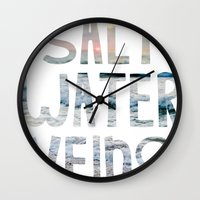 salt water Wall Clocks featuring Salt Water Veins by Lacey Hilliard