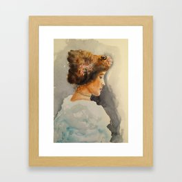 Lady in deep thoughts Framed Art Print