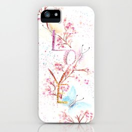 Love Butterflies Watercolor Illustration iPhone Case