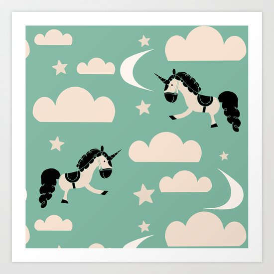 Unicorn green Art Print