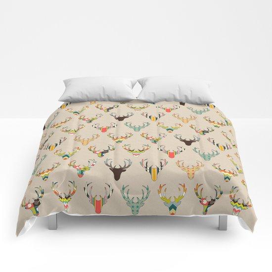 retro deer head on linen Comforters