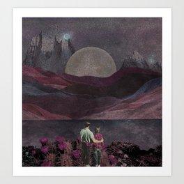 Starry moon night Art Print