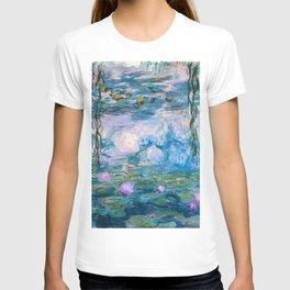 Water Lilies Monet Teal T-shirt
