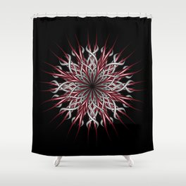 Mandala silver and red Shower Curtain
