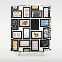 frames Shower Curtains featuring Wall of Frames by Natalie North