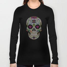 Day of the Dead, Cinco de Mayo, Calavera, Dia de los Muertos - Sugar Skull - Candy Skull Make Up Fac Long Sleeve T-shirt