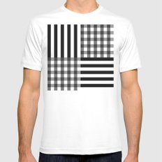 monochrome pattern  MEDIUM Mens Fitted Tee White