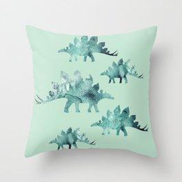 Stegosaur Green Throw Pillow