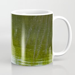 White Egret standing over reflection in green water Coffee Mug